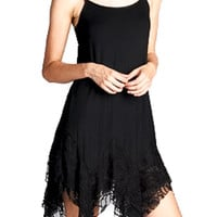 Fun & Flirty Black Lace Witchy Asymmetrical Spaghetti Strap Dress Summer