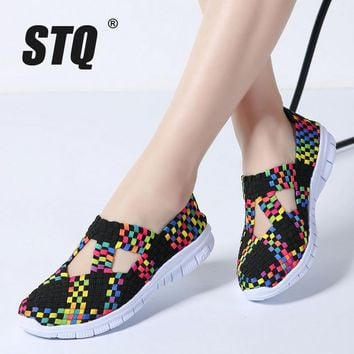 STQ 2018 Spring women flats shoes women woven shoes flat sneakers shoes ballet flats female multi eva loafers ladies shoes 609