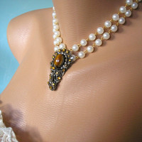 Tiger's Eye Necklace, Statement Necklace, Upcycled Jewelry, Repurposed Vintage, Pearl Choker, Art Deco, Amber Rhinestone, White Pearls