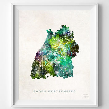 Baden Wurttemberg Map, Germany, Print, Watercolor, German, Europe, Home Town, Poster, Country, Nursery, Wall Decor, Painting, Bedroom, World