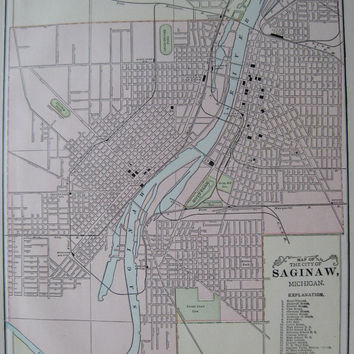 SAGINAW Michigan Antique MAP 1900 Vintage City Map Plaindealing 3390