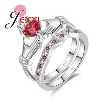 JEXXI 2017 New Unique Design Heart and Hand Shape Ring Set 925 Sterling Silver Crystal Jewelry Cubic Zirconia Women Wedding Ring
