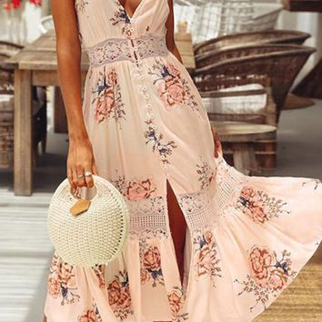 World At My Fingertips Coral Floral Pattern Sleeveless Spaghetti Strap V Neck Lace Trim Casual Midi Dress