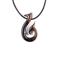 Fish Hook Necklace, Fish Hook Pendant, Mens Necklace, Wood Fish Hook Pendant, Wood Fish Hook Necklace, Tribal Necklace, Fish Hook Jewelry
