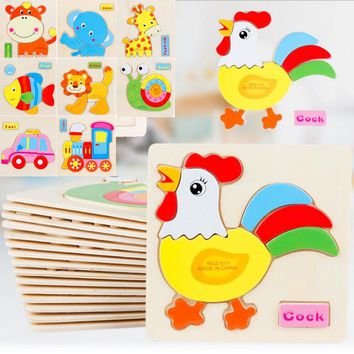 3D New Puzzle Wooden Colorful Toy Jigsaw For Children Cartoon Animal Cars Fruit Fish Puzzle Intelligence Kids Educational Toys