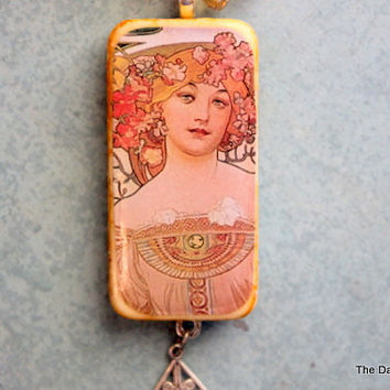 Vintage Lady Garden Party Altered Art Domino Necklace