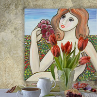 """Erotica Portrait Painting of nude Girl with Grape in meadow KSAVERA """"Tamara""""16x16 Contemporary Original art Lady Woman Cubism pink gray"""