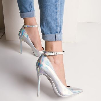 High Stiletto Buckle Strap Holographic Pumps in Silver