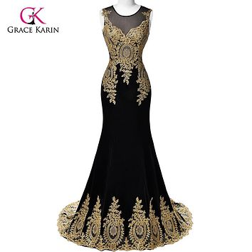 Real Sample 2017 Grace Karin Dubai Arabic Mermaid Evening Dresses Long Black Formal Evening Gowns robe de soiree longue 026