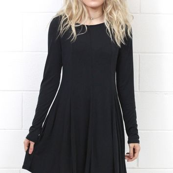 Cupro Modal A-Line L/S Swing Dress {Black}