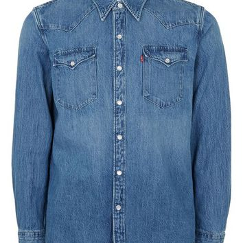 LEVI'S Blue Denim Button Up Shirt