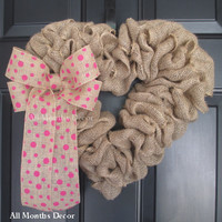 Burlap Heart Wreath with Pink Polka Dot Bow