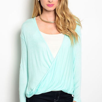 Mint Green Draped Wrap Top