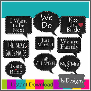 Wedding Photo Booth Props Printable Speech Bubbles Chalkboard / Set of 22 Wedding Photo Booth Chalkboard Props Instant Download