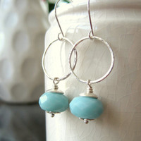 Sea foam green Amazonite and hand hammered sterling silver hoop earrings, modern, boho - made to order