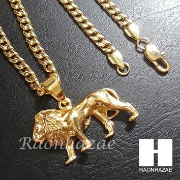 316L Stainless steel Gold King Lion w/ 5mm Cuban Chain SG06
