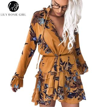 Lily Rosie Girl Boho Floral Print Beach Short Dress Long Sleeve Ruffle Empire Lace Up Button V Neck Sexy Women Autumn Vestidos