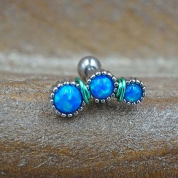 Blue Opal Cartilage Piercing, Helix Earring