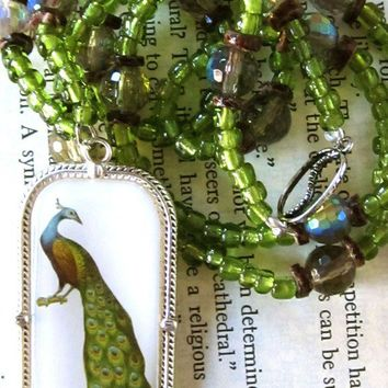 Green Glass Beaded Necklace with Vintage by boutiquevintage72