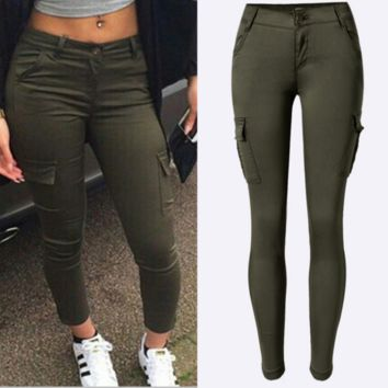 Women's low-waist Slim stretch pants feet army green outdoor leisure sports climbing pants