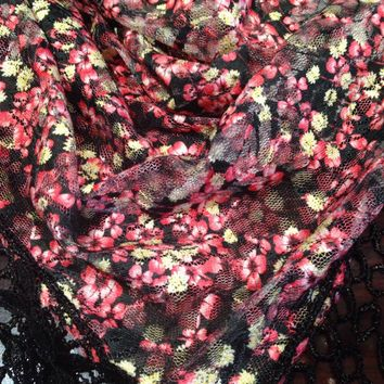 Nemesis Vintage Victorian Style Antique black Cherry Blossom Coloered Summer Triagle Scarf Wrap