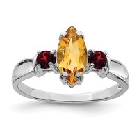 Sterling Silver Marquise Citrine And Garnet Ring