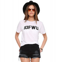White IDFWU Print Graphic Tee