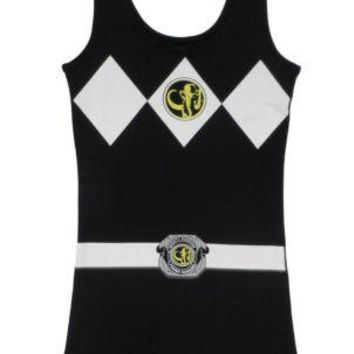 Power Rangers I Am Black Ranger Costume Sexy Tunic Tank Dress