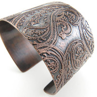 Paisley Copper Cuff Etched Copped Paisley Print Cuff Wide Copper Cuff Adjustable Cuff Handmade Metal Jewelry