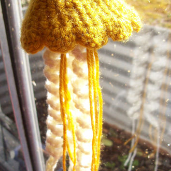 Crocheted Jellyfish Medium Hanging Ornament - Brass color