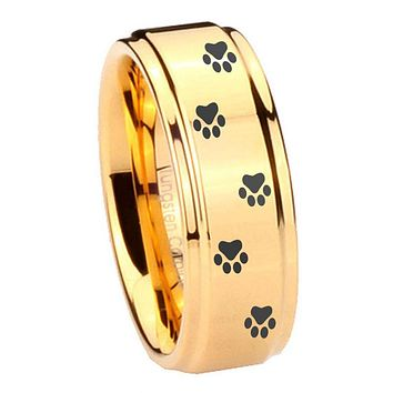 8MM Glossy Gold Step Edges Paw Print Design Tungsten Carbide Laser Engraved Ring