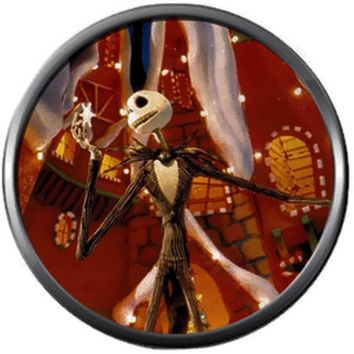 Happy Jack Skellington In Christmas Town Nightmare Before Christmas 18MM - 20MM Charm for Snap Jewelry New Item