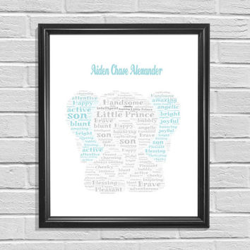 Elephant Printable Word Cloud Kids Bedroom Decor Printable Art