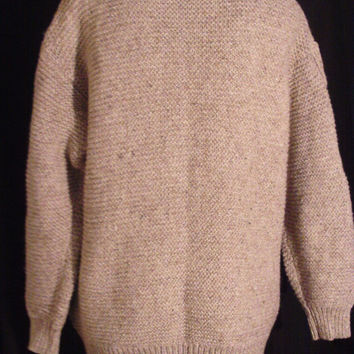 Vintage Oatmeal Cable Knit Grandpa Cardigan Sweater Chunky Knit