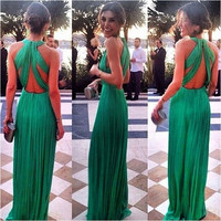 Fashion Women Green Maxi Dress Prom Vestidos [7654852934]