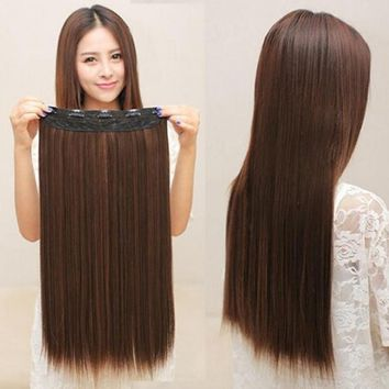 NEW Long Hair Extensions Straight Synthetic Clip in Hair Fake Girl Hair Piece S