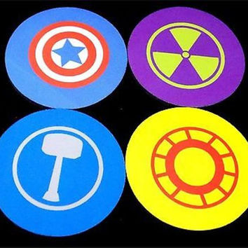 Thor Hulk Iron Man Captain America Avengers Comic 4 Coaster Set Patch COA-0077