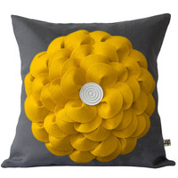 Large Yellow Felt Flower PILLOW COVER Charcoal Gray Linen with Wooden Button by JillianReneDecor - Spring Home Decor - Gift for Her