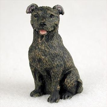 STAFFORDSHIRE BULL TERRIER BRINDLE TINY ONE FIGURINE
