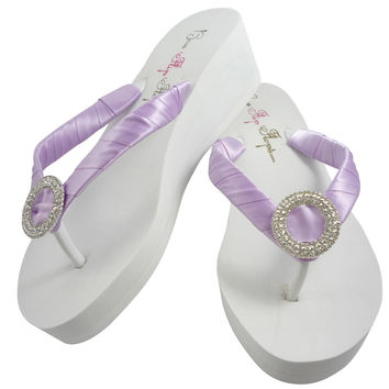 Orchid Purple Luxe Wedding Wedged Flip Flops