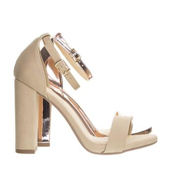 ShinerD Natural By Delicious, Chunky Block High Heel Sandal w Ankle Strap & Low Platform