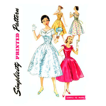 50s Vintage Dress Sewing Pattern Bust 30 Simplicity 1631 Evening, Fit and Flare, Fitted Midriff, Full Skirt Dress, High Waist Dress