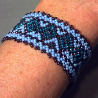 Blue Beaded Bracelet - Native American Style Loomwork Bead Bracelet - Vintage Handcrafted Southwest Jewelry - Tribal Style