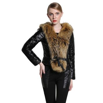 Winter Women's Long Sleeve Parka Faux Fur Collar Coat Quilted Jacket Outerwea