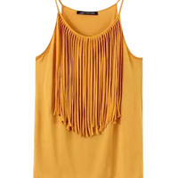 Gold Fringe Trimmed Neck Sleeveless Top