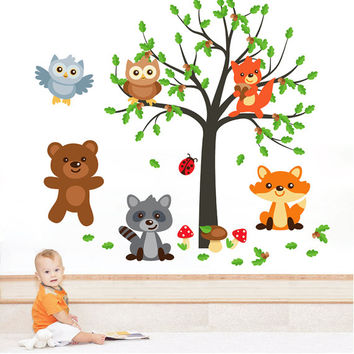 kcik1657 Full Color Wall decal bedroom children's room decor Custom Baby Nursery on bed baby tree nusery decal tree forest animals