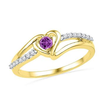 10kt Yellow Gold Women's Lab-Created Amethyst Heart Love Ring 1/5 Cttw - FREE Shipping (US/CAN)