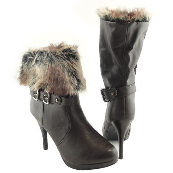 Womens Ankle Boots Faux Fur Foldover Cuff High Heels Brown SZ