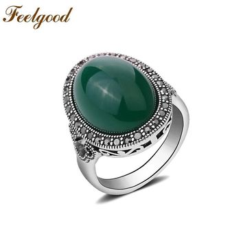 Feelgood Bohemian Tibetan Silver Color Finger Ring Gypsy Ethnic Hollow Carved Vintage Ring With Big Oval Faux Stone For Women