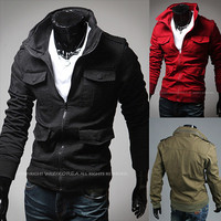 Military Men Style Slim Fit Zip Up Jacket